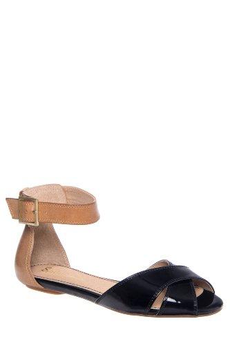 Atlanta D'Orsay Peep Toe Ankle Strap Flat Sandal