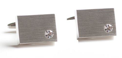Code Red Base Metal Brushed Rhodium Plated with Clear Crystals Cufflinks