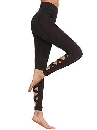 SweatyRocks Women's High Waist Mesh Active Leggings Skinny Workout Yoga Pants (Small, 7-Black)