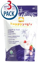 Happy Baby happyyogis Organic Superfoods Yogurt & Fruit Snacks Mixed Berry -- 1 oz Each / Pack of 3