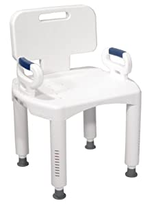 Drive Medical Bath Bench with Back and Arms, White