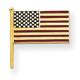 14k Enameled Flag Tie Tac - JewelryWeb