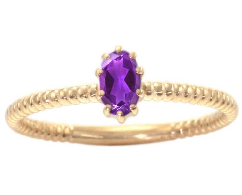 14K Yellow Gold Petite Oval Gemstone Solitaire Stackable Ring-Amethyst, size7