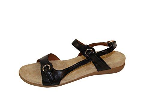 BENVADO CHER sandalo pelle nera due fasce chiusura velcro (4.5 UK)