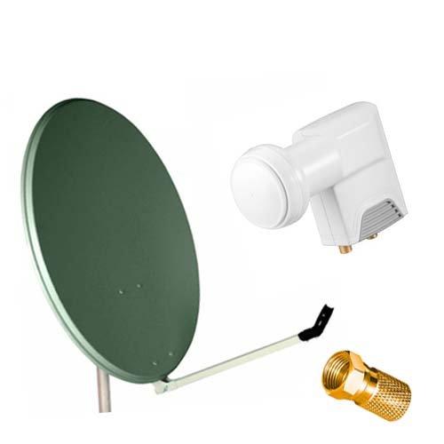 DIGITALE SAT Anlage   Spiegel Schüssel 80 cm anthrazit Twin LNB  10 F-Stecker für Kabel Außen-ø 8,2 mm gold