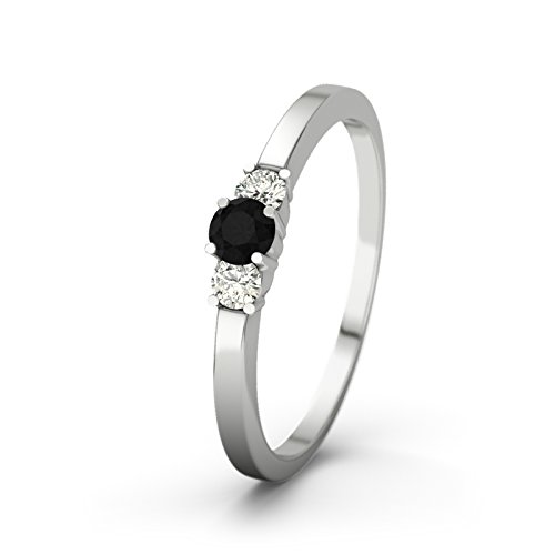 21DIAMONDS Shannon 21PREMIUM Black Round Brilliant Cut Diamond Engagement Ring, 9ct White Gold Women's Ring Engagement Rings