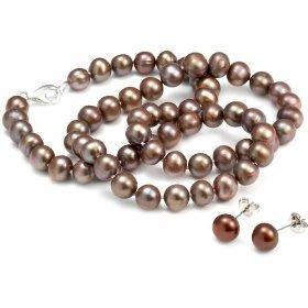 Parure perles culture chocolat collier de Clous d'oreille chocolat 6-7mm