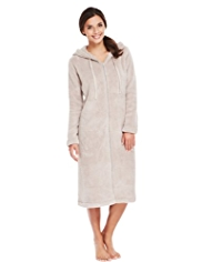 Hooded Zip Through Cosy Fleece Dressing Gown