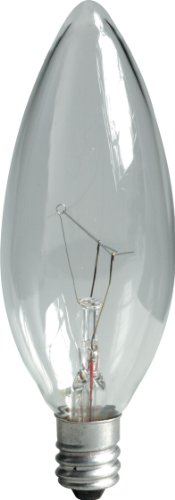 Ge Lighting 24779 60-Watt 650-Lumen Blunt Tip Light Bulb With Candelabra Base, Crystal Clear, 12-Pack