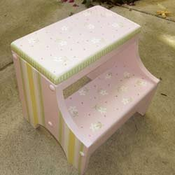 Personalized Pink Daisy Step Stool front-186146