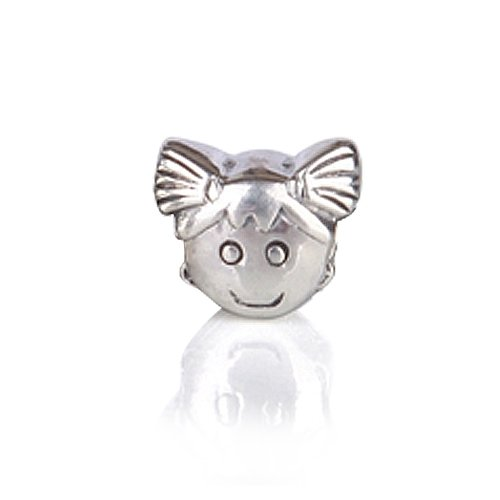 Bling Jewelry .925 Sterling Silver Girl Face Charm Bead Compatible with Pandora Bead Bracelet
