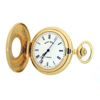 Mount Royal - Gold Plated Half Hunter Mechanical Pocket Watch - B8M - (WW1746) - 4.4cm diameter x 0.9cm depth