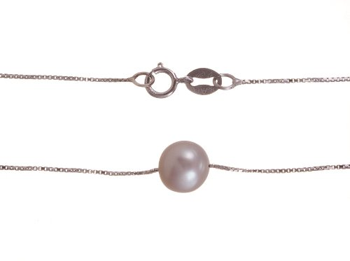 White Pearl On Sterling Silver Chain (7.0-8.0 mm), 18