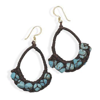 Turquoise Chip Dangle Fashion Earrings Brown Crocheted Teardrope Shape