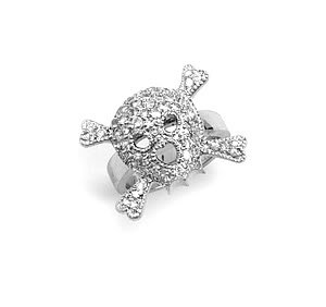 Sterling Silver Rhodium Plated CZ Skull Ring / Size 10