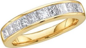 14k Yellow Gold Natural Princess Channel-set Diamond Womens Ladies Bridal Wedding Anniversary Band - .50 (1/2) Ct.t.w.