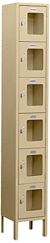 Salsbury Industries Assembled 6-Tier Box Style See-Through Metal Locker with One Wide Storage Unit, 6-Feet High by 18-Inch Deep, Tan