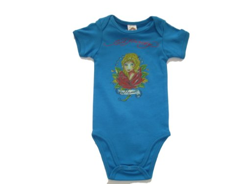 Ed Hardy Baby Girls California Princess Turquoise Onesie One Piece (9/12 Months) front-737086