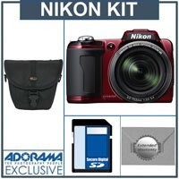 Nikon Coolpix L110 Digital Camera KIt, - Red - With 4GB SD Memory Card, Camera Case, 2 Year Extended Service Coverage