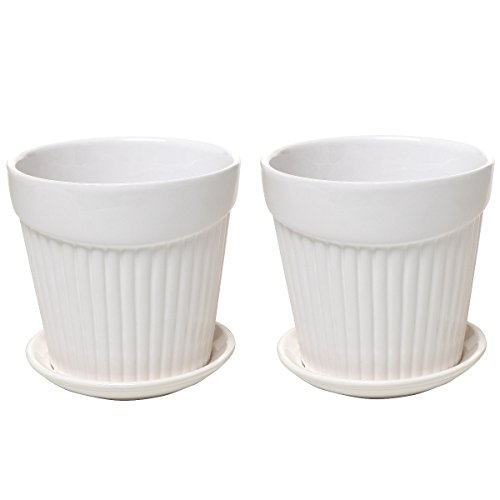 Set of 2 Small White Decorative Ribbed Ceramic Plant / Flower Planter Pot w/ Attached Saucer - MyGift®