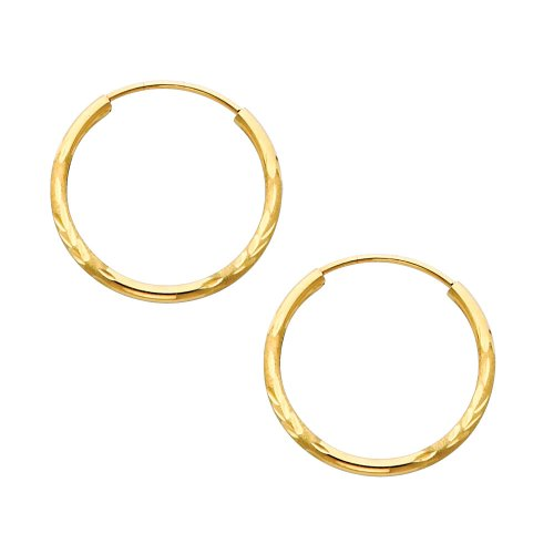 14K Yellow Gold 1.5mm Thickness Diamond Cut Satin/High Polished Elegant Endless Hoop Earrings (0.8