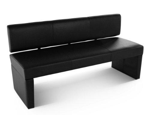 SAM® Sitzbank Sofia 164 cm in schwarz komplett bezogen angenehme Polsterung pflegeleicht teilzerlegt Auslieferung durch Paketdienst