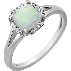 14kt White Created Opal & .05 CTW Diamond Ring