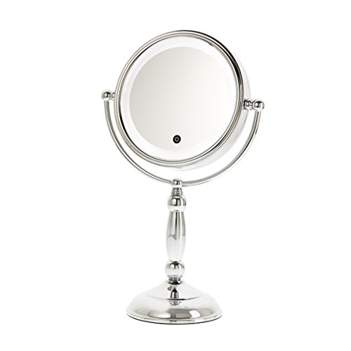 Danielle Enterprises Touch Button Chrome Led Lighted 10X Magnification Mirror With Dimmer, Chrome