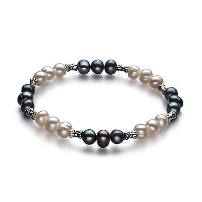 PearlsOnly YinYang Black and White 6.0-6.5mm A Freshwater Cultured Pearl Bracelet-7.5-inch: PearlsOnly: Jewelry