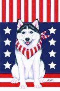 Siberian Husky by Tomoyo Pitcher, Patriotic Themed Dog Breed Flags 28 x 40