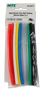 Nte Heat Shrink 2:1 Assorted Colors 1/4 X 6 10 Pcs.