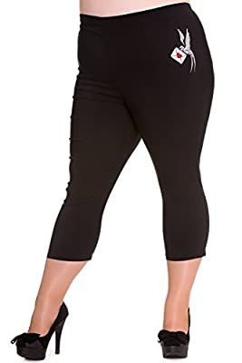 Hell Bunny Plus 60's Retro Pinup Love Letter Bird Black Capri Pants