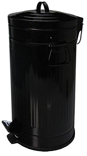 pedal-bin-vintage-retro-design-black-pedal-bin-pedal-bin-rubbish-bin-with-lid-30-litre-stainless-ste