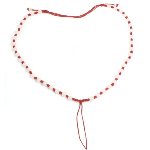 Rosallini Lady Plastic Beads Detail Nylon String Necklaces Gift Red 4 Pcs