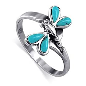 Pretty Dragonfly Reconstituted Turquoise Band .925 Sterling Silver Ring
