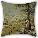 Pillowcase Of Oil Painting Pieter Brueghel The Younger - Winter Landscape With A Bird Trap,for Dining Room,boy Friend,study Room,bar Seat,lover 20 X 20 Inches / 50 By 50 Cm(both Sides) (Hot Dog Trap Team compare prices)