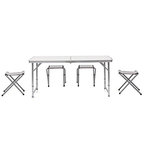 HOMFA-120cm-Campingtisch-Klapptisch-Set-mit-4-Klappsthle-Aluminium-Gartentisch-hhenverstellbar-Campingmbel-Camp-Falttisch-Reisetisch-wei-Wei-120cm