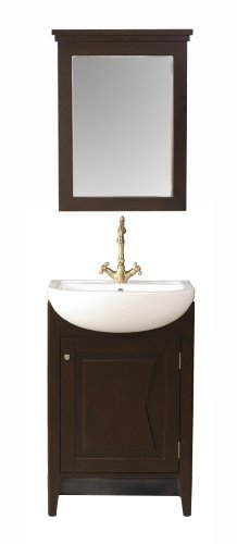 Stufurhome GM-6120-23-PR 23-Inch Magnolia Single Vanity in Dark Brown Finish with Porcelain Sink and Mirror