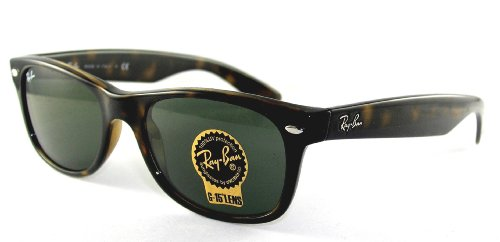 Ray Ban Sunglasses RB 2132 New Wayfarer 902 Tortoise-Havana/G-15XLT, 52mm