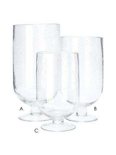 10 Clear Glass Medium Seed Glass Footed 1 PC Hurricane Candle Holder Vase (C)