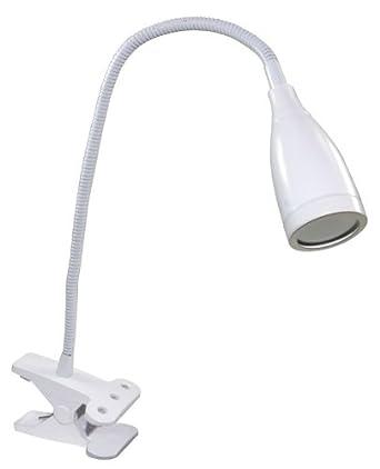 White LED Clip Desk Light - Flexi Goose Neck Directional Lamp