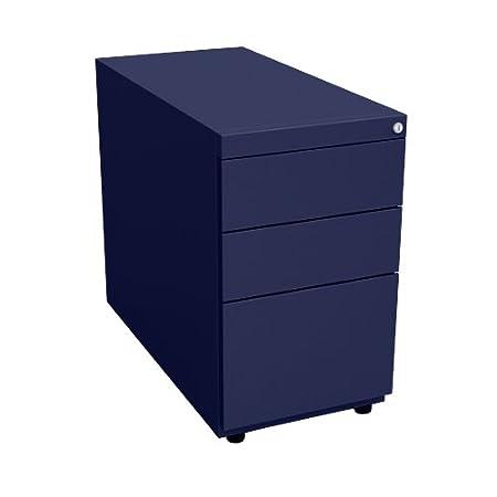 Bisley NWA73G7SSF 71 cm Note Pedestal Desk Supporting 3 Drawers - Oxford Blue
