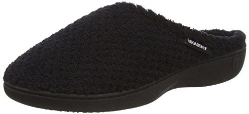 isotoner-isotoner-popcorn-terry-mule-pantuflas-con-forro-calido-de-sintetico-mujer-color-negro-talla
