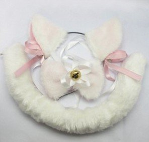 Cat's Ear Ears Tail w/Tie Plush White Cosplay Costumes
