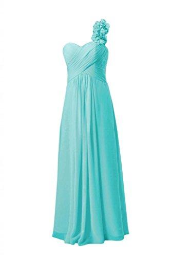Daisyformals Long One Shoulder Chiffon Junior Bridesmaid Dress(Fl346)- Tiffany Blue