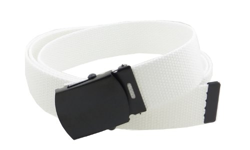 """Canvas Web Belt Military Style with Black Buckle and Tip 56"""" Long Many Colors (White)"""