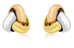 Carissima 9ct Three Colour Gold 8mm Knot Stud Earrings