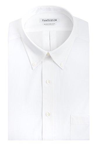Van Heusen Men's Pinpoint Regular Fit Solid Button Down Collar Dress Shirt