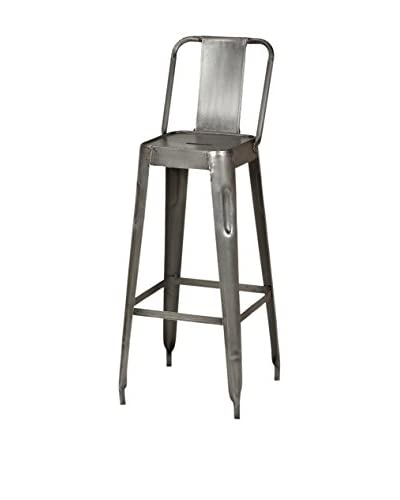 CDI Furniture Industrial Bar Chair with Raw Metal Finish, Grey