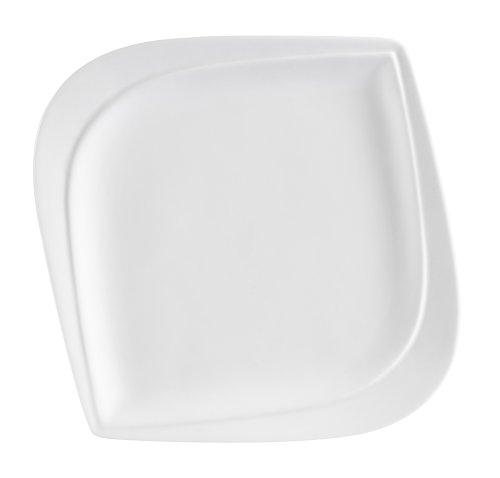CAC China ASP-16 Aspen Tree 10-Inch New Bone White Porcelain Leaf Shape Square Plate, Box of 12